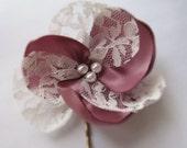 CUSTOM ORDER for  Candace Berman. 5 Dusty Pink Vintage Looking Flower Hair Pin. Flower Hair Piece. Flower Hair Accessory.