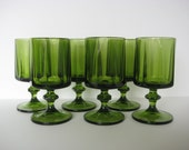 Avocado green wine glasses, set of six wine glasses