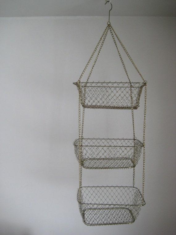three tier hanging basket wire kitchen storage