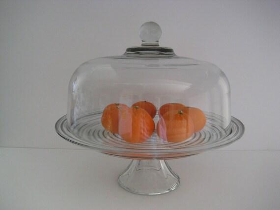 vintage glass cake stand pedestal covered cloche top. Black Bedroom Furniture Sets. Home Design Ideas