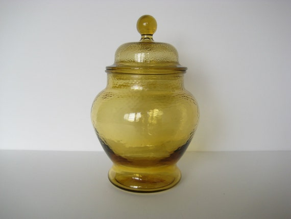 SALE// Amber apothecary jar, lidded glass jar, canister
