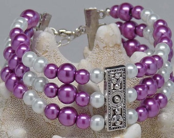 """TRIPLE PURPLE PEARLS:  8"""" Layer upon Layer of Purple and White Pearls Bracelet Accessory Gift"""