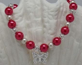 "BUTTERFLY IN RED:  8"" Hand Beaded Elegant Bracelet Accessory Gift"