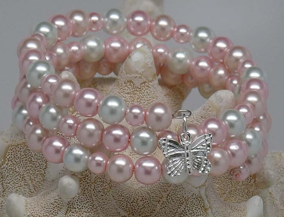 PINK PEARLS BRACELET:  Pearl Cluster Cuff, Accessory, Spring Gift Under 25