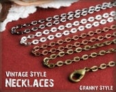 40 Vintage Style Necklaces - Antique Brass Chain - Mix any Choice, Antique Bronze Chain, Antique Copper Chain, Silver Chain,  Gunmetal Chain