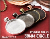 10 Pendant Trays - 30mm round Silver, Antique Bronze, Antique Copper, or Gumnetal - Blank Bezel Cabochon Setting