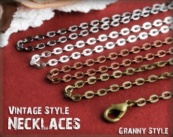 100 Vintage Style Necklaces, Antique Brass Chain - Mix any Choice, Antique Bronze Chain, Antique Copper Chain, Silver Chain,  Gunmetal Chain