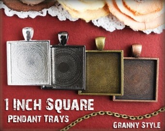 50 Pendant Trays - 1 inch square Silver, Antique Bronze, Antique Copper, or Gumnetal - Blank Bezel Cabochon Setting