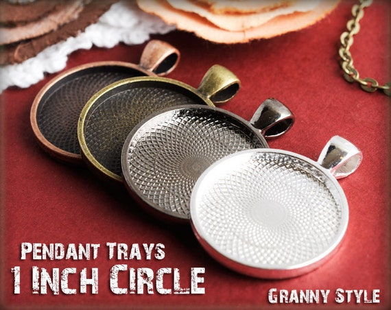 20 Pendant Trays - 1 inch round Silver, Antique Bronze, Antique Copper, or Gumnetal - Blank Bezel Cabochon Setting