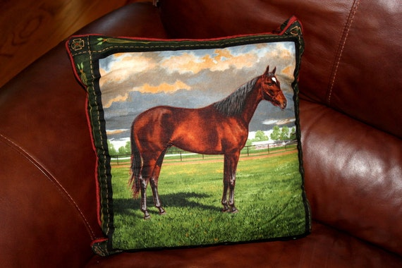 Decorative Horse Pillows : Decorative horse themed throw pillow Thoroughbred series