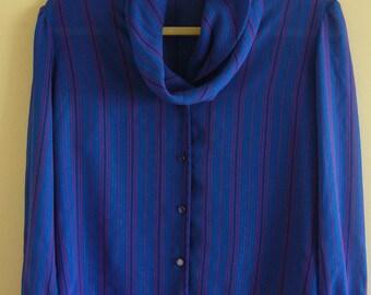 SALE Vintage Blue Metallic Striped 1980s Secretary Blouse