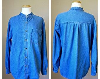 Vintage Faded Oversized DENIM Button-Down Shirt