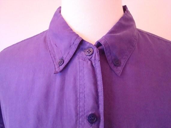 SALE VIntage 100% Silk Button-down Blouse in Vivid Purple