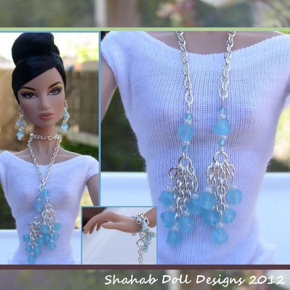 Barbie Doll Jewelry - Necklace, Earrings, Bracelet - Fits Silkstone Barbie and others, Aqua and Silver Jewelry for Barbie S1023