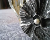 Coral Textured Pewter with fresh water Pearl.