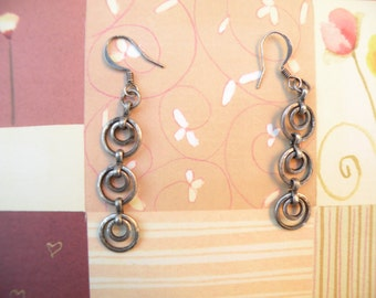 Long Antiqued Silver Chain Mail/Steampunk Earrings
