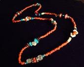 Turquoise, Carnelian, Catseye, Shell, Glass Indian Necklace