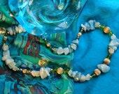 Quartz, Vintage Gold Bead Necklace