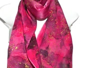 """Show Stopper Red Violet with Gold Accent SILK SCARF for Women. Hand Painted Silk Scarf by New York City artist Joan Reese/100% Silk/  11x60"""""""