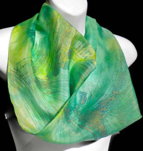GO Green/Gold Highlights SILK SCARF/ Gold accents/ Silk Scarf Hand Painted by New York Artist Joan Reese/ 100% silk