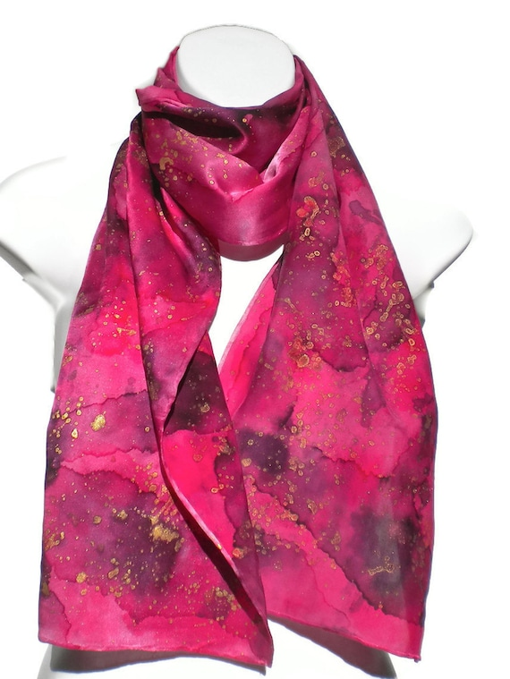 Show Stopper Red Violet with Gold Accent SILK SCARF for Women. Hand Painted Silk Scarf by New York City artist Joan Reese/100% Silk/  11x60""