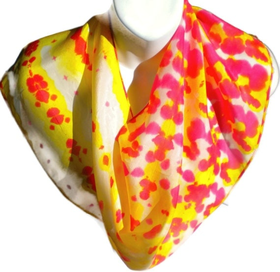"""Splashy Red, Yellow and White Silk Scarf. Hand painted Silk Scarf by New York Artist Joan Reese/100% Silk/""""One of a kind"""""""