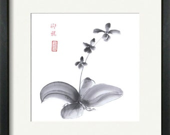 "Original Art ""Orchid"" - Japanese art - sumi-e drawing - wash ink - Wall decor - home decor - gift for her - gift for women - black and white"