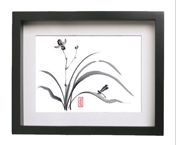 "Original Japanese art  ""Dragonfly and orchid "" - Sumi-e Brush Painting - bamboo brash on rice paper"