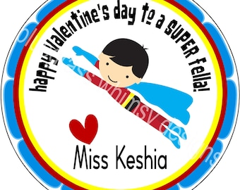 "2.5"" Round Sticker for Goodie Bags- Valentine, From Teacher"