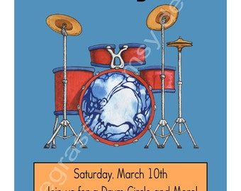 Boy's Drums Birthday Party Invitation- 5th birthday