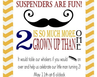 Mustache, Bowties and Suspenders, Comb on Over-  Birthday Invitation