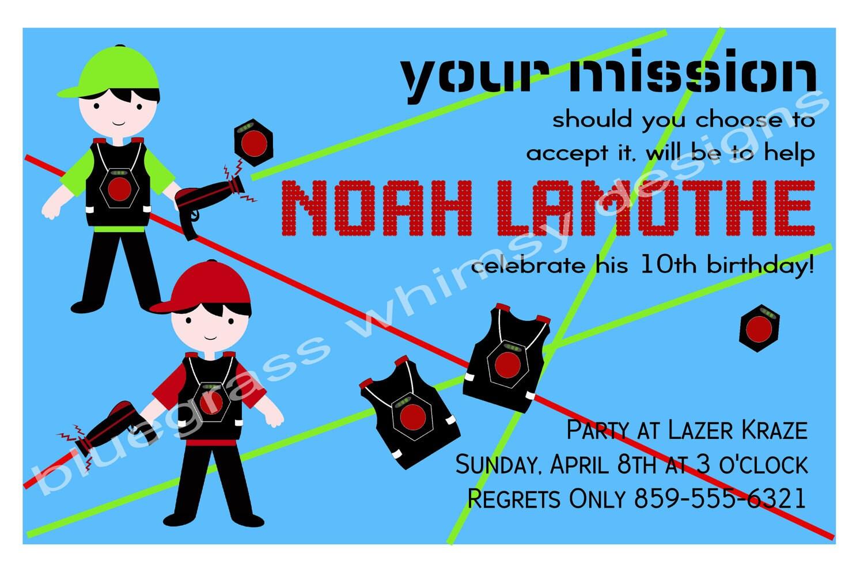 Boys Laser Tag Birthday Party Invitation blue red and – Laser Tag Party Invitation