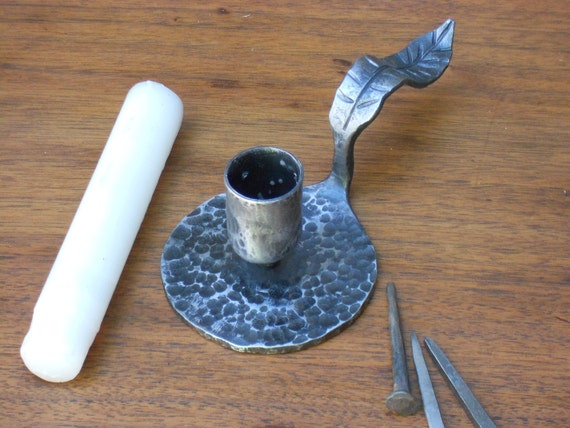 Forged Leaf Candleholder