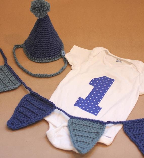 1st Birthday Boy Photo Props: Number Onesie, Crochet Banner, Crochet Party Hat