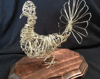 Silver Coated Wire Sculpture of a Turkey