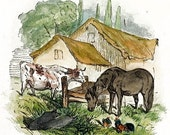 horse, cow, two pigs and chickens in a farmyard