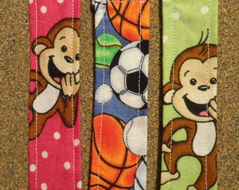 ANY THREE Print Pacifier / Binky / Passy / Toy Holders, with snap and Alligator Clip