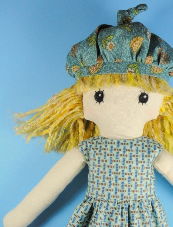 Cotton cloth doll - blond girl - blue retro prints