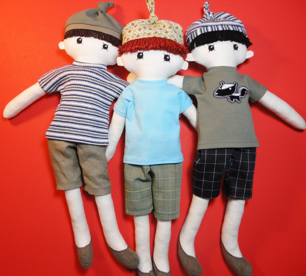 Cloth doll rag doll boy pdf pattern with detailed instructions