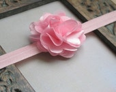 Pink Elastic Headband with PInk Flower