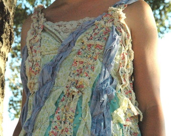 Ocean Pixie Dress- Upcycled and Vintage