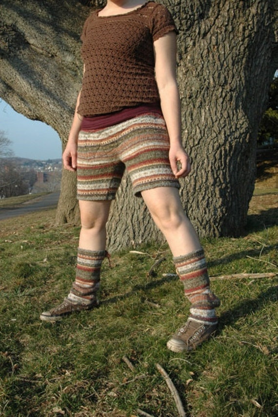Up-cycled Sweater Shorts  Earth-Colors