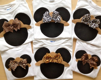 Disney Clothes for the Family Minnie Mouse Safari Shirt with Attached Bow - Animal Kingdom - Disney