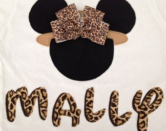 Minnie Mouse Safari Shirt with attached Bow and Personalized Name - Disney Trip - Animal Kingdom