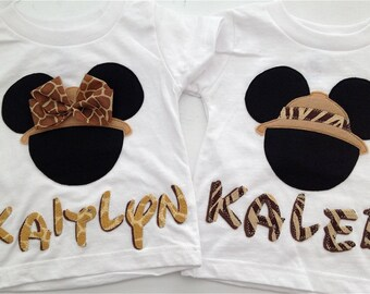 Set of Two - Minnie or Mickey Mouse Safari Shirts with attached Bow and Personalized Name - Disney Trip - Animal Kingdom