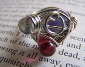 Wire Wrap Ring with Pink and Purple Glass Beads, Small (Pinky)