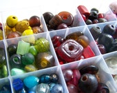 Large Glass Beads, Reclaimed, Mixture of Colors, 100pcs