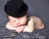 baby boy hat-crochet hat-fedora-you pick color-newborn photo prop