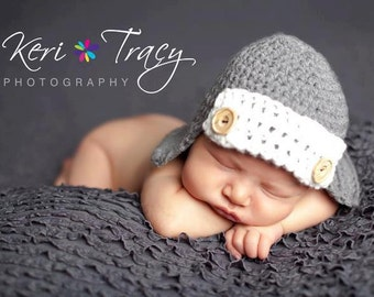 baby boy aviator hat-crochet bomber- beanie with buttons-newborn photo prop hat