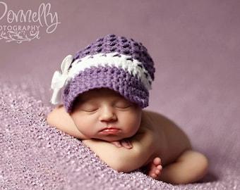 Newborn Photo Prop//Newborn Girl Hat//Newsboy Hat//Crocheted Hat//Crochet Baby Hat//Newborn Crochet Hat//Baby Shower Gift//Photography Props